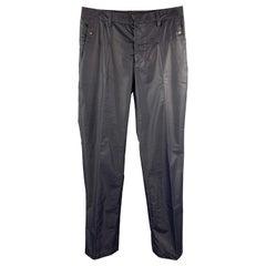 DIRK BIKKEMBERGS Size 30 Navy Rubberized Canvas Back Zip Pants