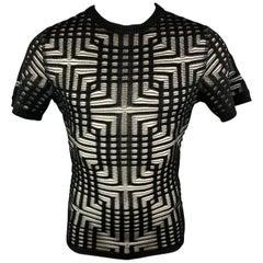 DIRK BIKKEMBERGS Size M Black & Silver Sheer Stripe Short Sleeve Pullover