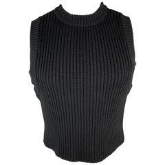 DIRK BIKKEMBERGS Size S Black Ribbed Knit Wool Grommet Side Cropped Vest