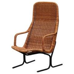 Dirk van Sliedregt High Back Woven Rattan Lounge Chair