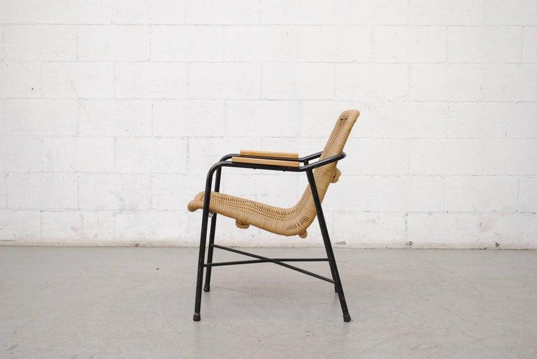 Mid-Century Modern Dirk Van Sliedregt Rattan Lounge Chair with Arm Rests For Sale