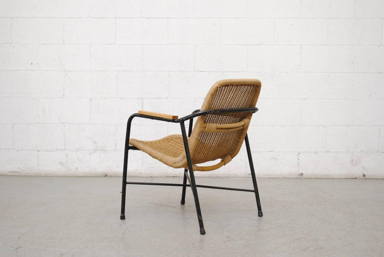 Dutch Dirk Van Sliedregt Rattan Lounge Chair with Arm Rests For Sale