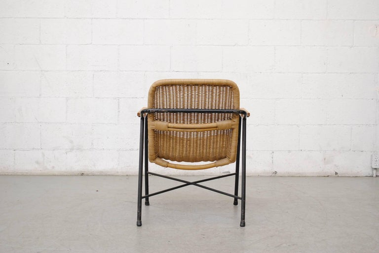 Enameled Dirk Van Sliedregt Rattan Lounge Chair with Arm Rests For Sale