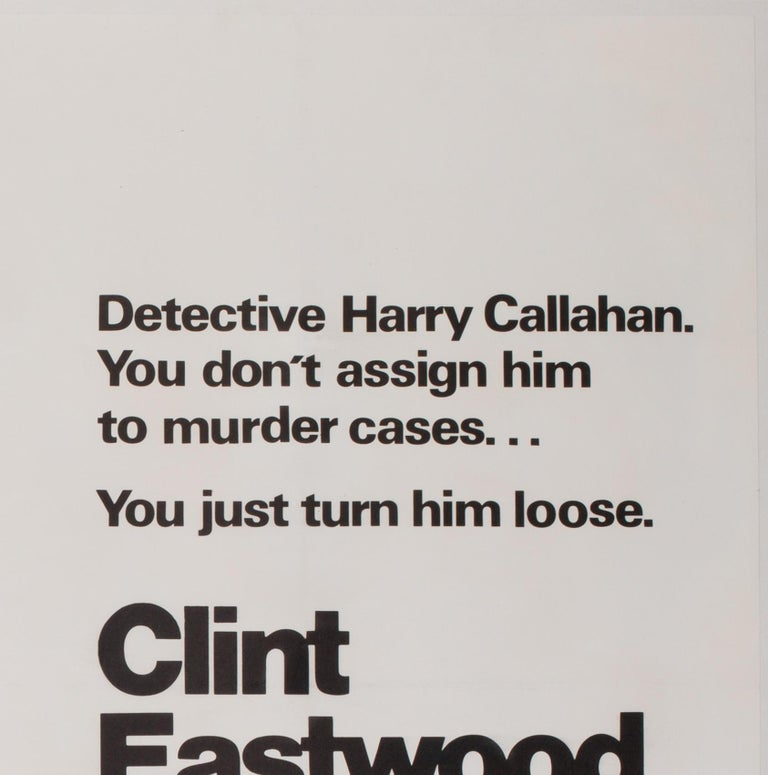 The very cool first-year-of-release UK Quad film poster for Don Siegel's Classic 1970s thriller movie Dirty Harry, starring Clint Eastwood in one of his most iconic roles. Wonderful graphics.