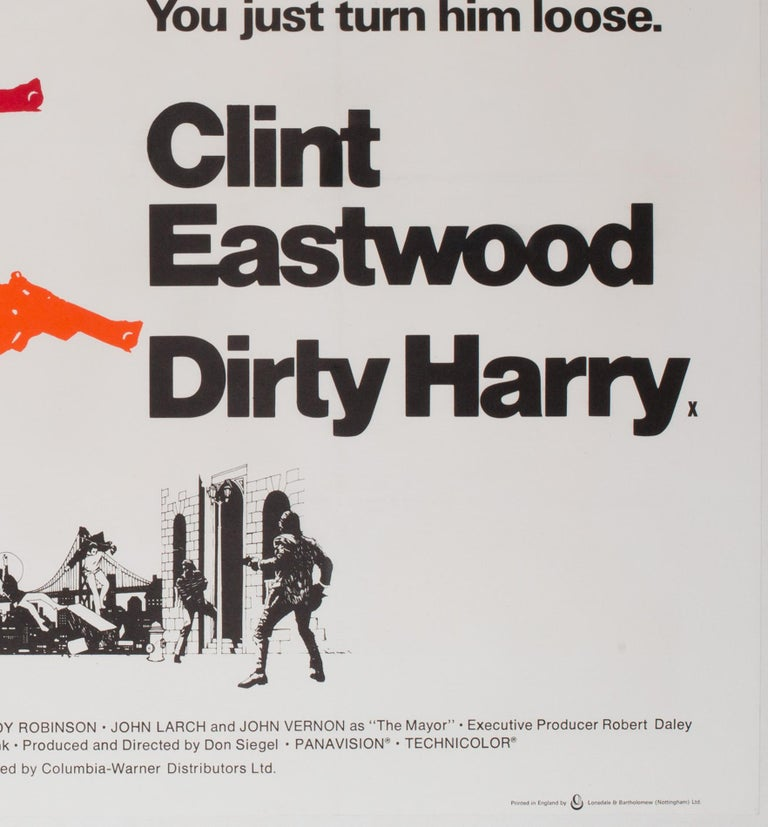 Dirty Harry Original UK Film Poster, 1971, Client Eastwood For Sale 1