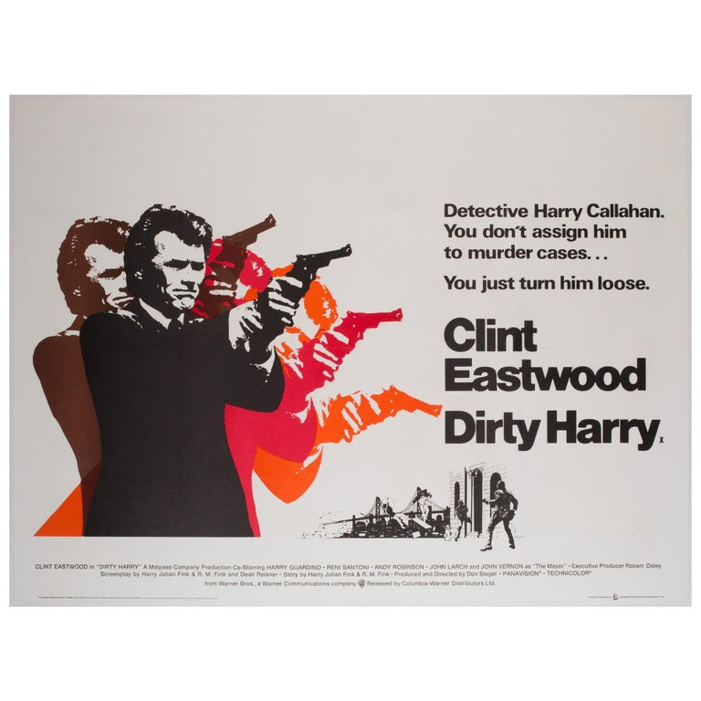 Dirty Harry Original UK Film Poster, 1971, Client Eastwood For Sale