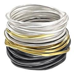 Disa Allsopp Silver Gold Triple Spaghetti Band Ring