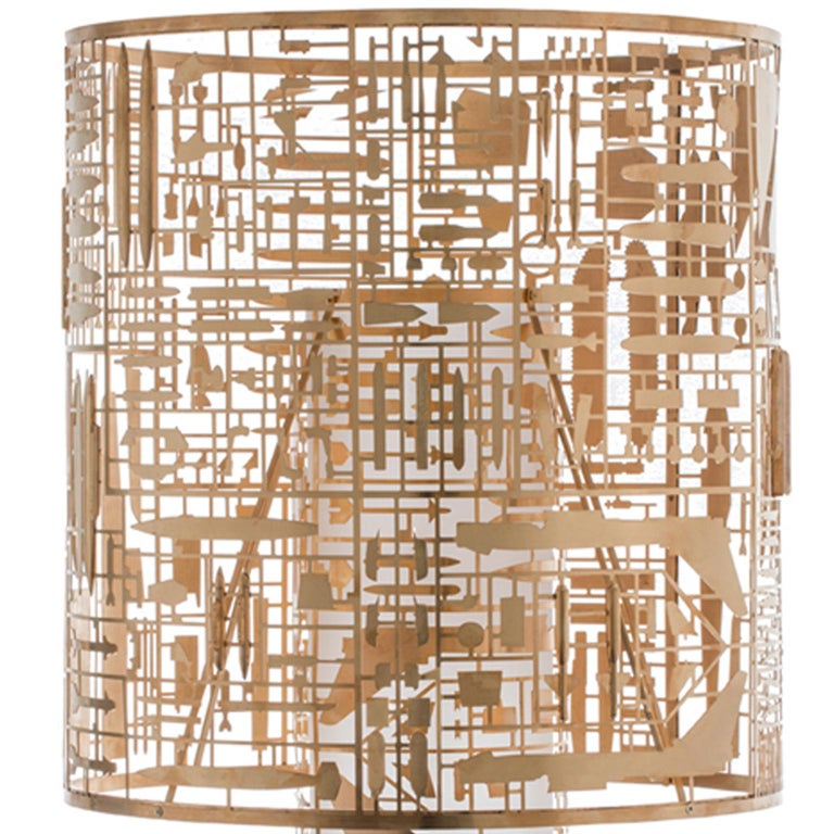 Italian Disarmante Brass and Glass Table Lamp For Sale