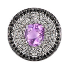 Disc Cocktail Ring with Purple Sapphire and Black and White Pave Diamonds