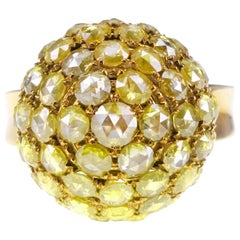 Disco Ball Cut Vivid Yellow Diamond Ice Cream Shape Designer Ring