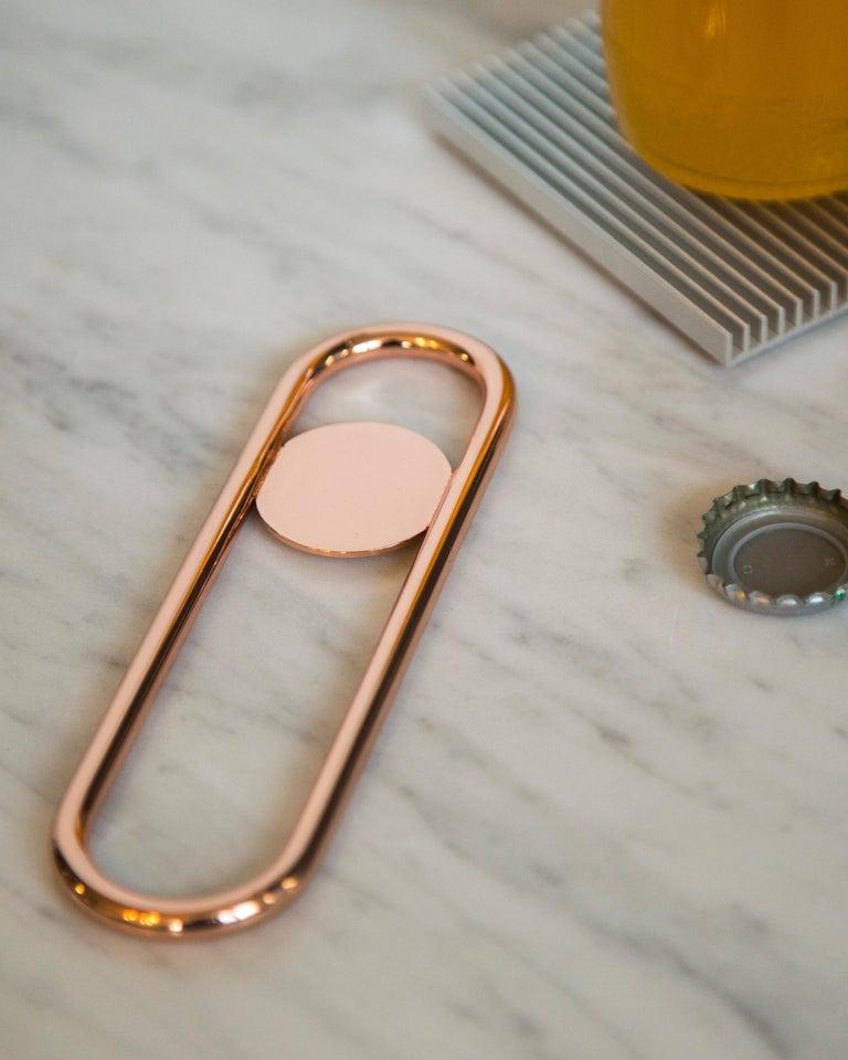 Modern Disco Bottle Opener from Souda, Brass For Sale