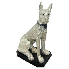 'Disco Dog' Mirrored Figure of Seated Great Dane with Collar