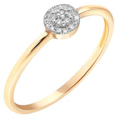 Discreet Elegant Every Day Classic Combination White Diamond Rose Gold Ring