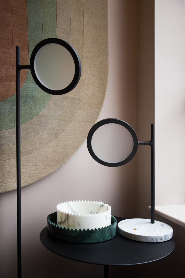 Modern Discus Table Lamp in Blackened Brass with Satin Finish by Jamie Gray For Sale