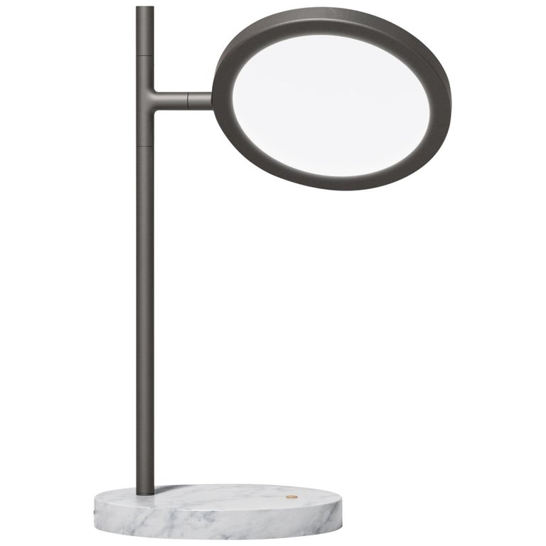 Discus Table Lamp in Blackened Brass with Satin Finish by Jamie Gray For Sale