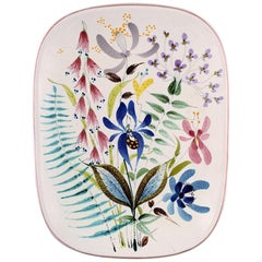 Dish Decorated with Flowers, Stig Lindberg, Gustavsberg Studio, Faience, 1940s