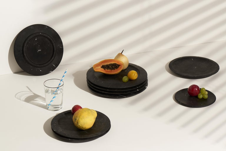 Modern Dish in Black Marquinia Marble by Ivan Colominas, Italy For Sale