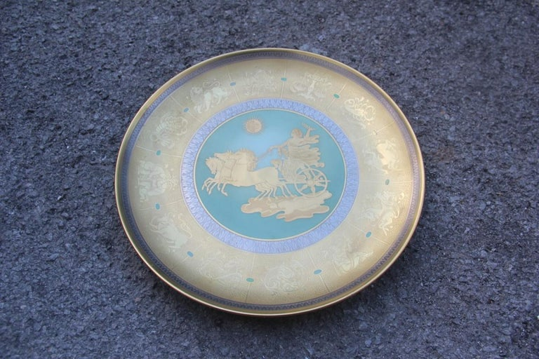 Dish in Pure Gold Porcelain with Decorations Zodiacal Signs Arte Morbelli Gold For Sale 7
