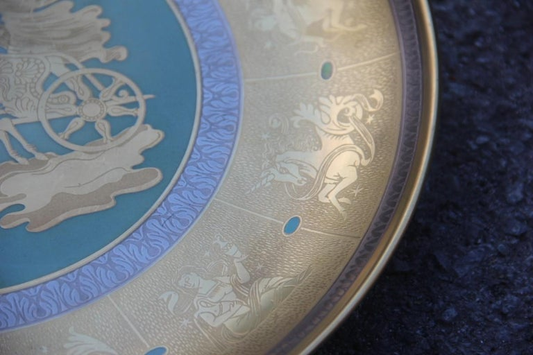 Italian Dish in Pure Gold Porcelain with Decorations Zodiacal Signs Arte Morbelli Gold For Sale