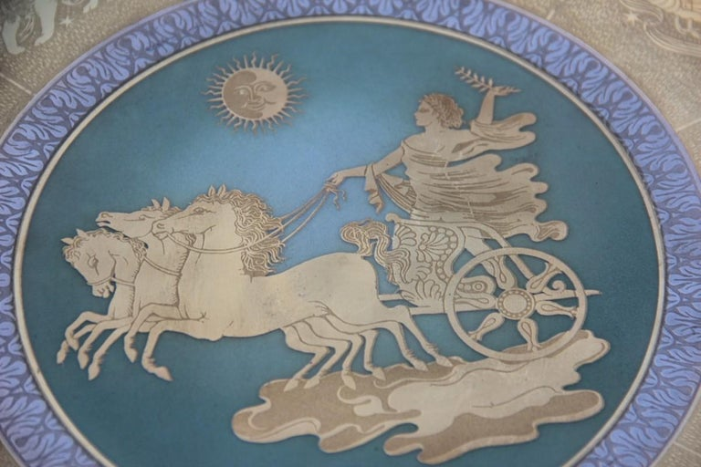 Dish in Pure Gold Porcelain with Decorations Zodiacal Signs Arte Morbelli Gold In Excellent Condition For Sale In Palermo, Sicily