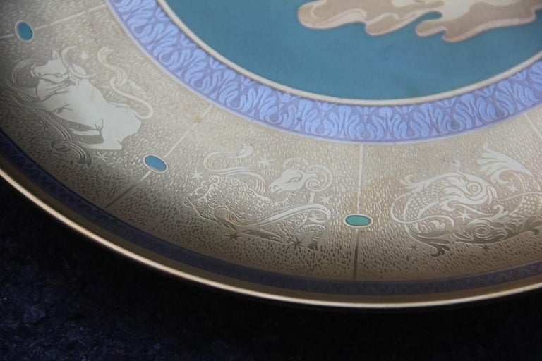 Mid-20th Century Dish in Pure Gold Porcelain with Decorations Zodiacal Signs Arte Morbelli Gold For Sale