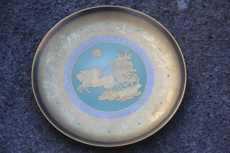 Dish in Pure Gold Porcelain with Decorations Zodiacal Signs Arte Morbelli Gold For Sale 1
