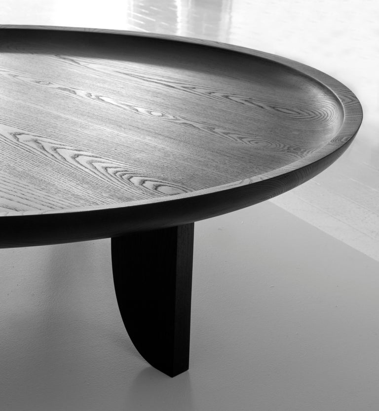 Modern Dish Solid Wood Contemporary Sculptural Carved Coffee Table Extra Large Black For Sale