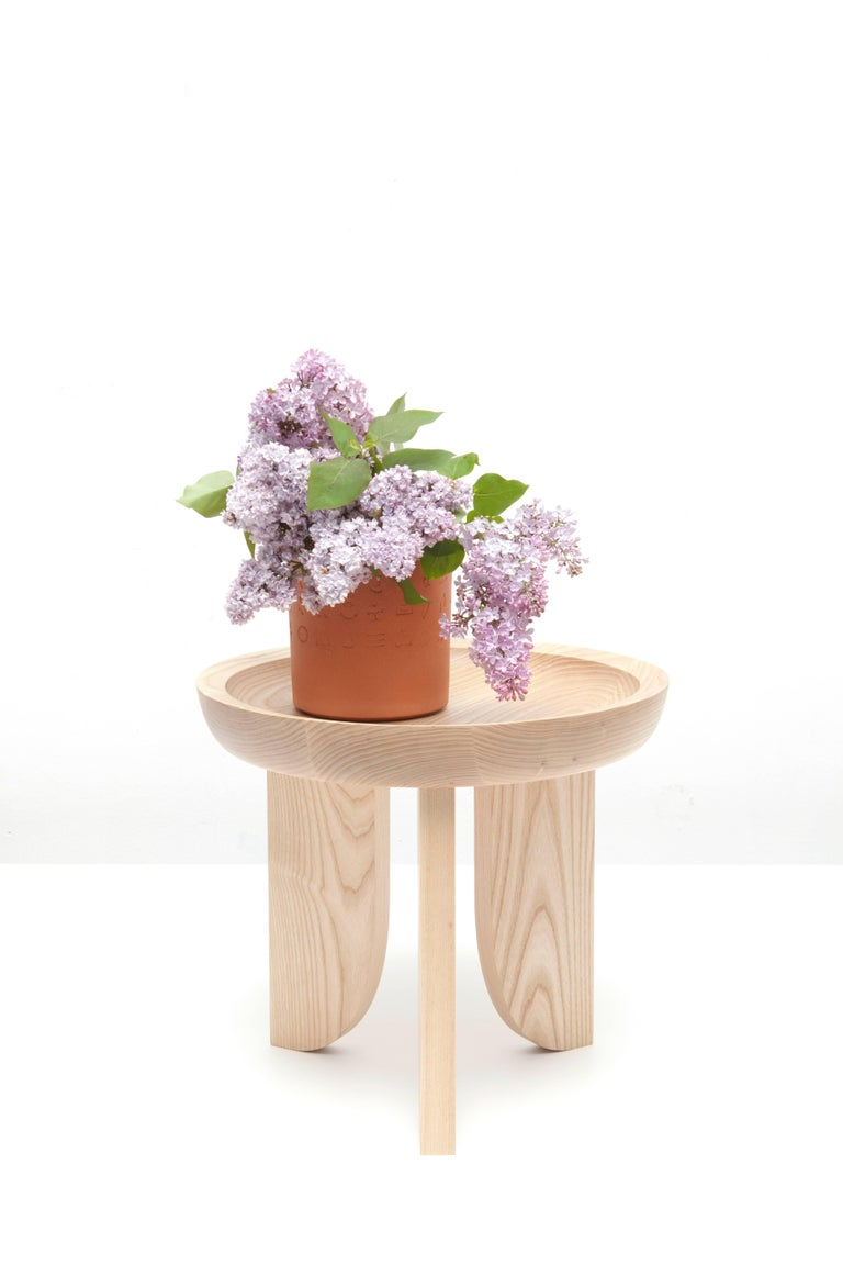 Modern Dish Solid Wood Sculptural Carved Side Table Douglas Fir Limited Edition For Sale