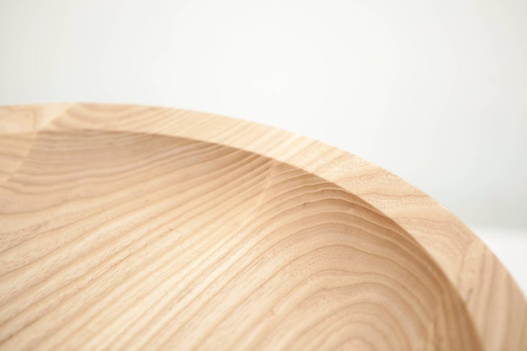 Contemporary Dish Solid Wood Sculptural Carved Side Table Douglas Fir Limited Edition For Sale