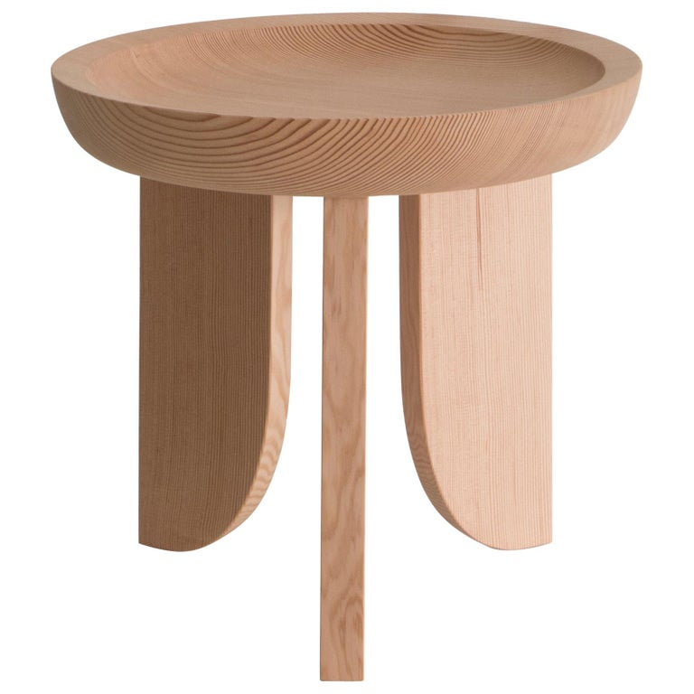 Dish Solid Wood Sculptural Carved Side Table Douglas Fir Limited Edition For Sale