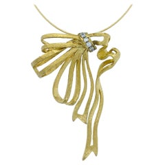 """""""Dishabille"""" Ribbon Pendant with Diamond Accents on Wire Chain in Yellow Gold"""