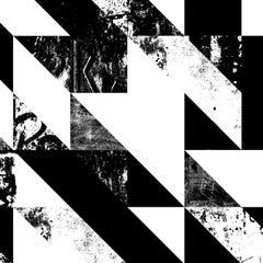 Disintegration Wallpaper in Black and White Colorway, Latex Ink on Smooth Paper