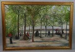 Vintage French Figural Park Scene Landscape