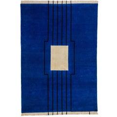 Blue beige black striped  Wool/silk  Rug by Cecilia Setterdahl for  Carpets CC