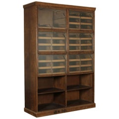 Display Cabinet Oak Veneer Glass Brass Vintage, Italy, 1940s