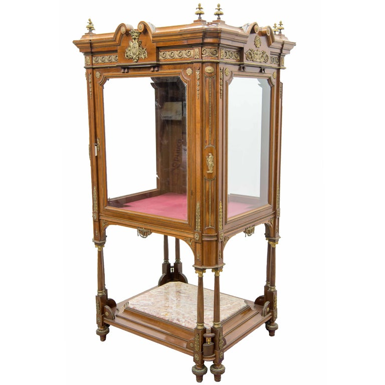 Display Cabinet or Showcase in Empire Style with Bronze-Mounted Walnut, Marble