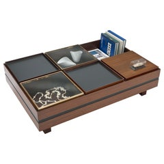 Display Coffee Table by Luigi Sormani with Trays in Wood, Black and Brass