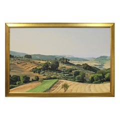 Distant View of San Gimignano Tuscan Country Side Landscape Art Oil Painting