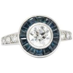 Distinct Art Deco Old European Diamond Sapphire Platinum Ring