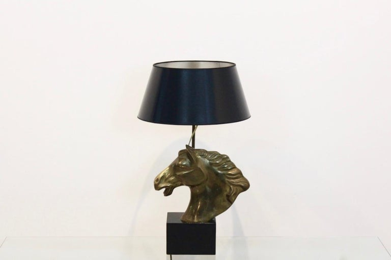 Distinctive French 'Cheval' Horsehead Table Lamp, 1970s In Excellent Condition For Sale In Voorburg, NL