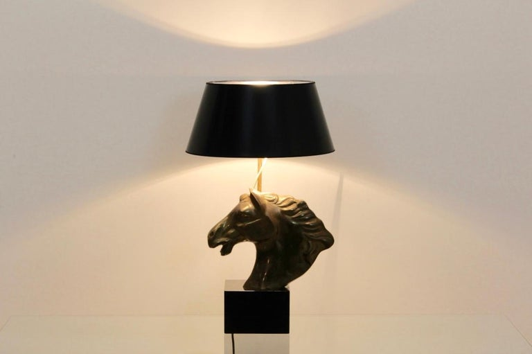 20th Century Distinctive French 'Cheval' Horsehead Table Lamp, 1970s For Sale