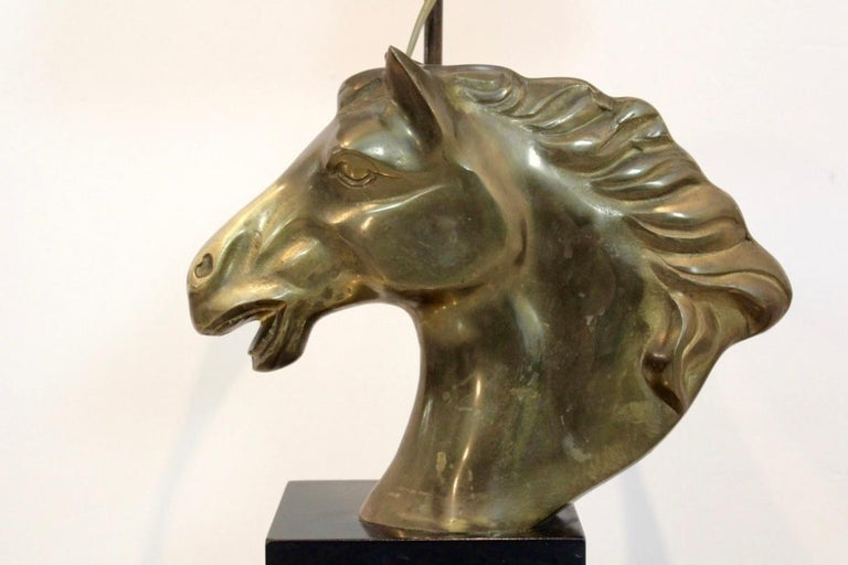 Brass Distinctive French 'Cheval' Horsehead Table Lamp, 1970s For Sale