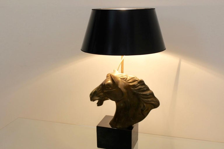 Distinctive French 'Cheval' Horsehead Table Lamp, 1970s For Sale 3