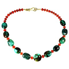 Distinctive Hubei Turquoise Nugget and Carnelian Necklace