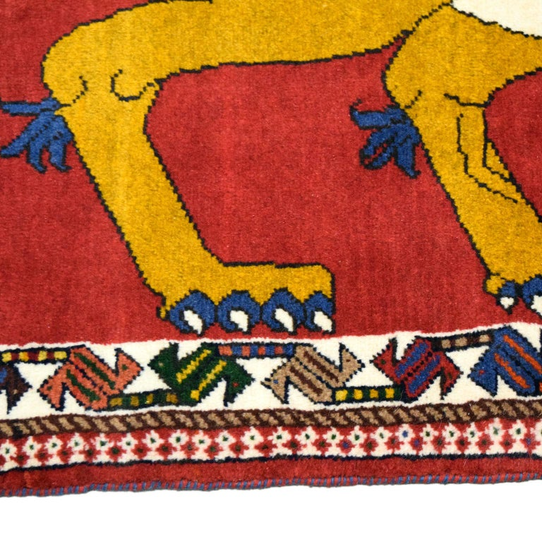 Distinctive Majestic Persian Lion with Sword Rug in Gold, Red, and Blue 1