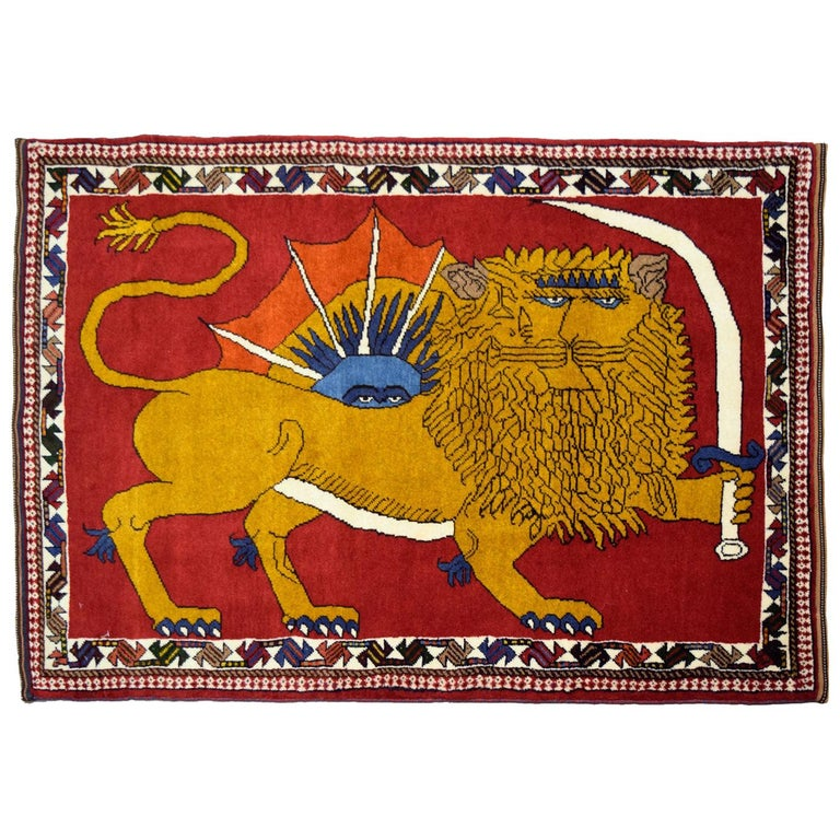 Distinctive Majestic Persian Lion with Sword Rug in Gold, Red, and Blue