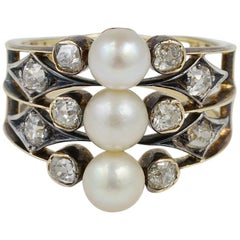 Distinctive Victorian 1.0 Carat Old Mine Diamond Natural Pearl Trilogy Rare Ring