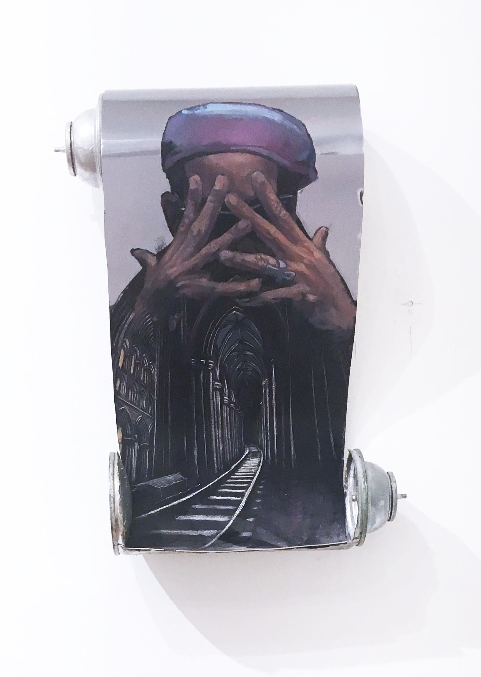 Phase 2 by street artist DISTORT, spray can scroll etching with enamel portrait