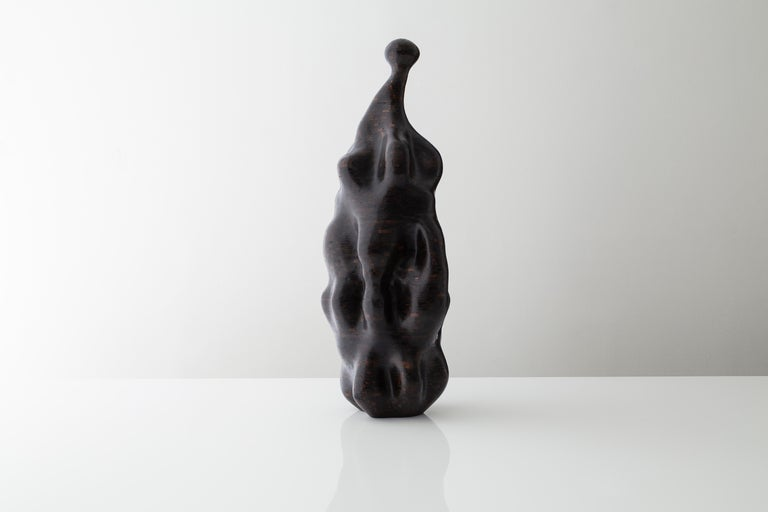 Modern Distortion, Stacked Blackened Oak Sculpture by Richard Haining, Available Now