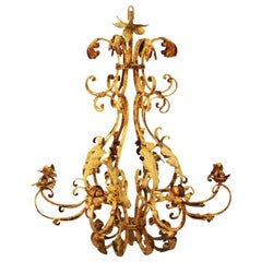 Distressed 8 Arm French Style Lustre Chandelier, No Sockets